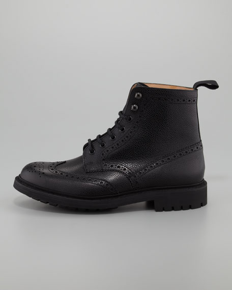 Grizdale Wing-Tip Boot, Black