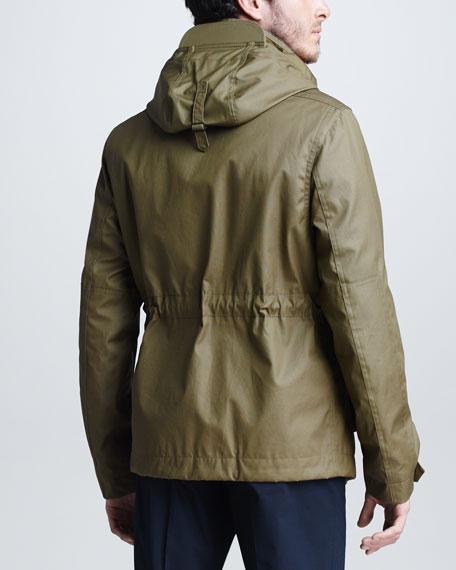 Canvas Drop Funnel Collar Jacket, Oregano