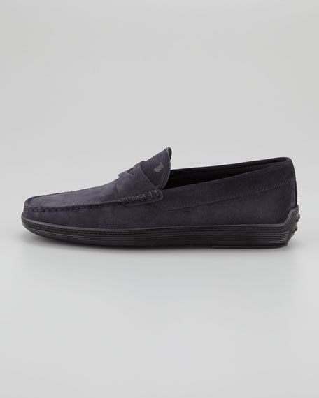 Suede Penny Boat Shoe, Navy