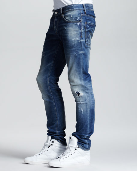 Splash-Print Faded Slim Jeans