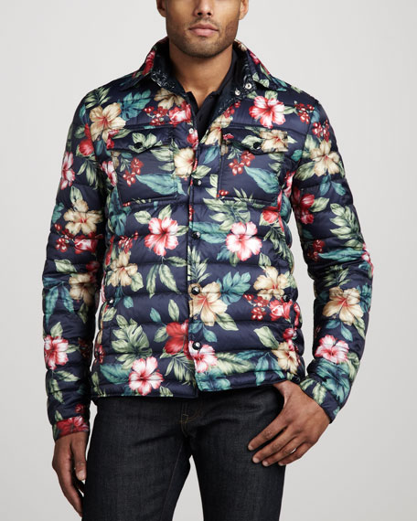 Floral-Print Puffer Jacket
