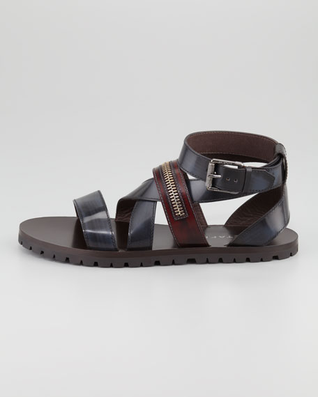 Rumwell Zip-Strap Leather Sandal, Navy/Brown