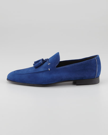 Suede Tassel Loafer, Cobalt