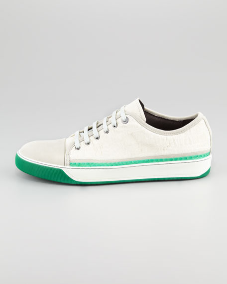 Python-Trimmed Suede Sneaker
