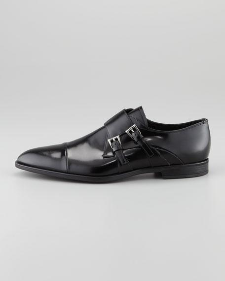 Spazzolato Double-Monk Strap Loafer, Black