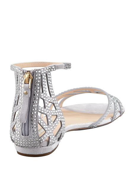 Flat Crystal Evening Sandals, Light Gray