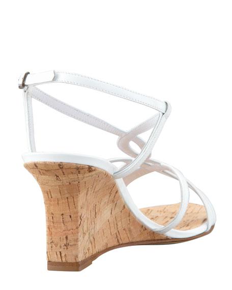 Martina Patent Cork Wedge Sandal, White