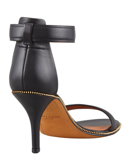 Nadia Zip-Trim Ankle-Wrap Sandal