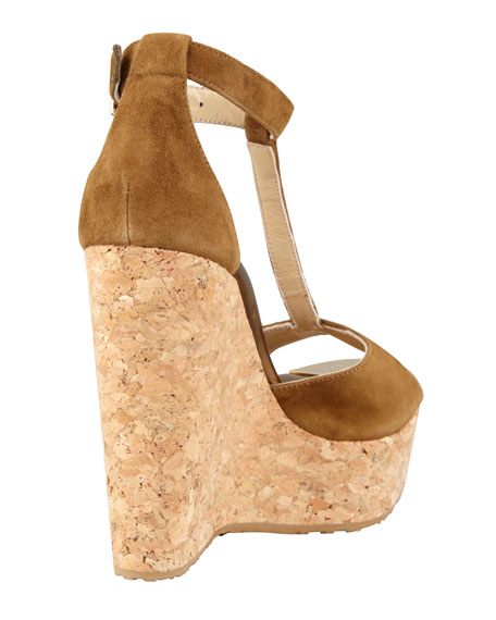 Pela Suede T-Strap Cork-Wedge Sandal, Dark Brown