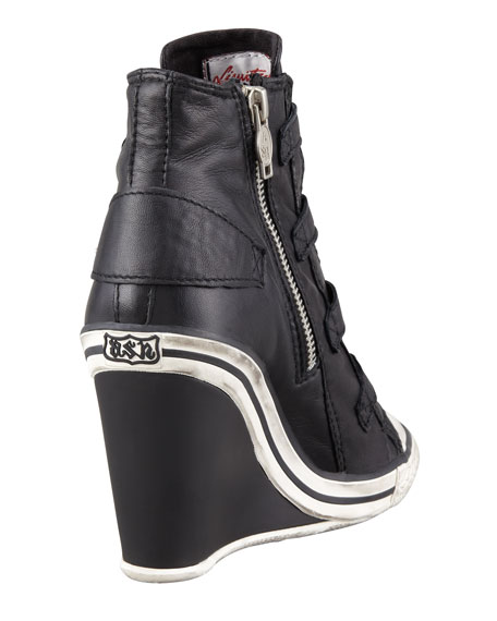 Thelma High-Top Wedge Sneaker, Black