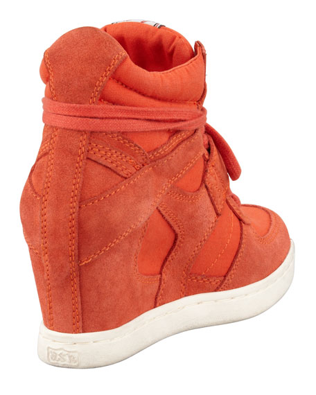 Cool High-Top Wedge Sneaker, Orange
