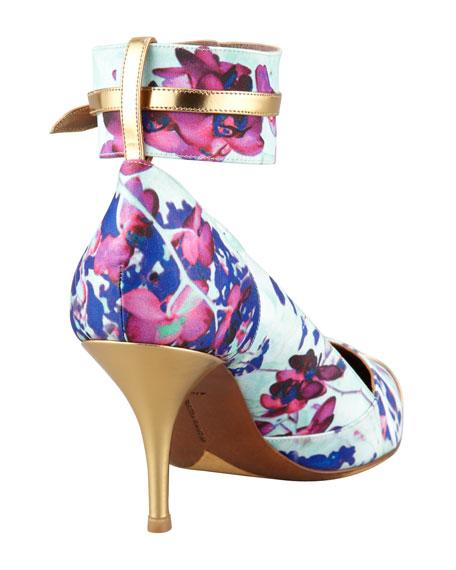 Helen Floral Cap-Toe Pump