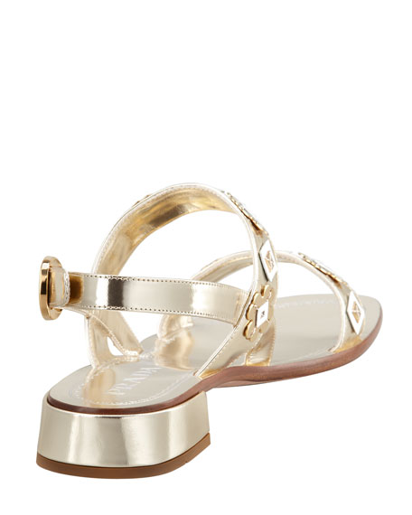 Charm-Embellished Mirrored Leather Sandal