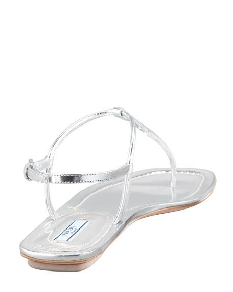 45c4ad4d9db Prada Flat Metallic Leather Thong Sandal