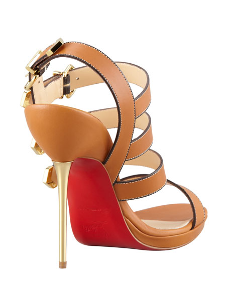 Funky Buckled Strappy Sandal, Brown