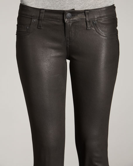Casey Leather Leggings, Black