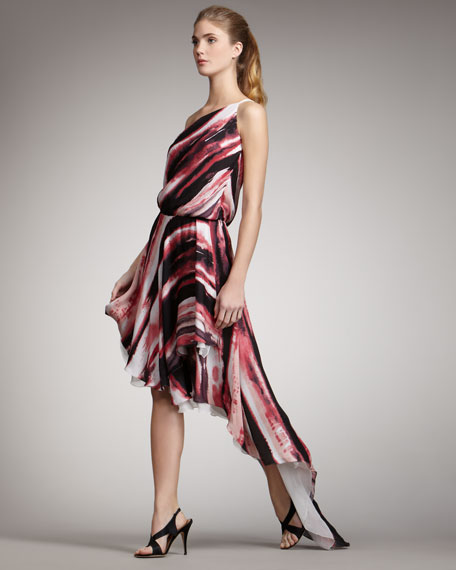 Striped One-Shoulder Gown
