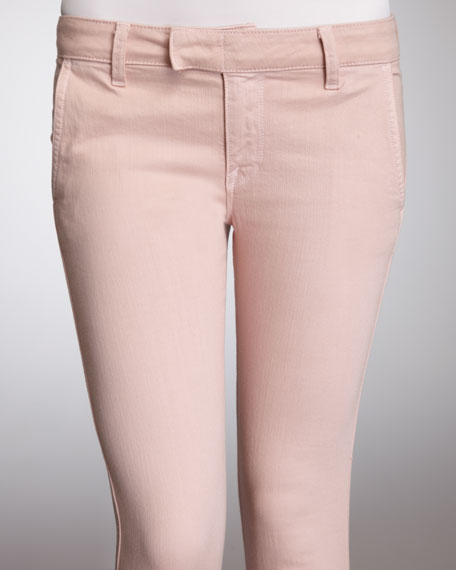 Cropped Skinny Zipper-Cuff Jeans