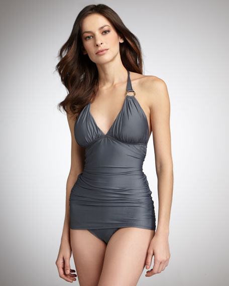 Solids Halter Swimsuit, Gray