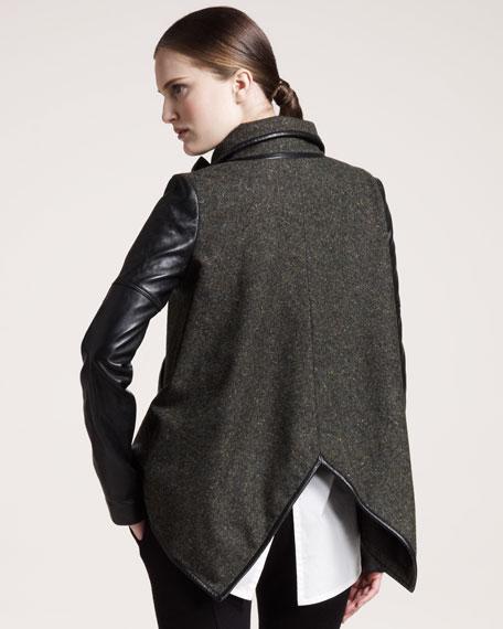 Leather-Sleeve Oxford Tweed Jacket