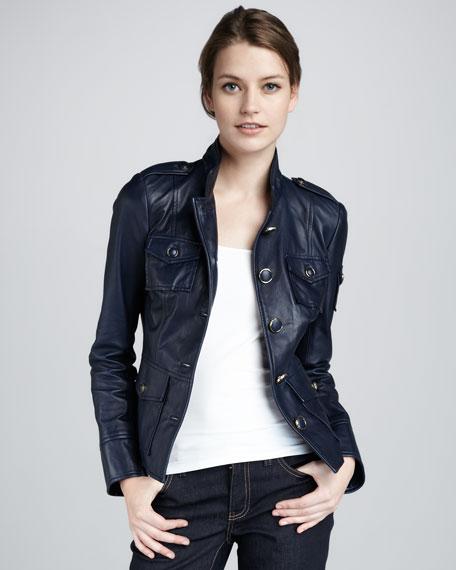 Shrunken Leather Military Jacket
