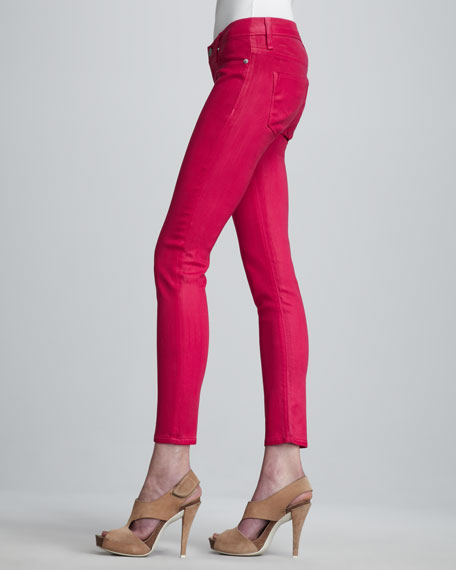 Krista Super Skinny Waxed Jeans, Hot Pink