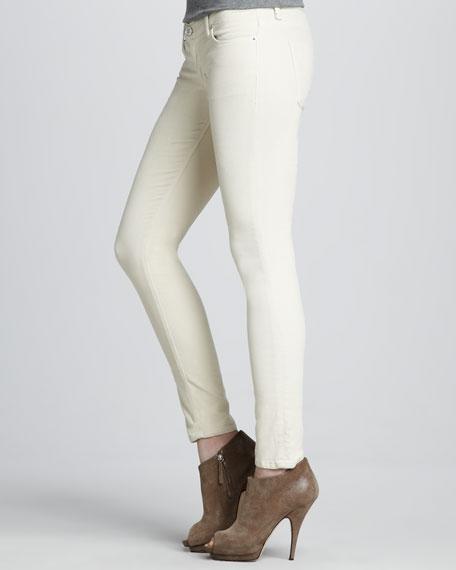 Krista Bone Velvet Super Skinny Jeans