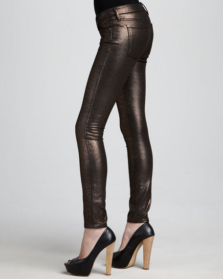 The Skinny Copper Liquid Metallic Jeans