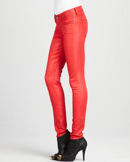Skinny High-Shine Gummy Jeans, Lipstick