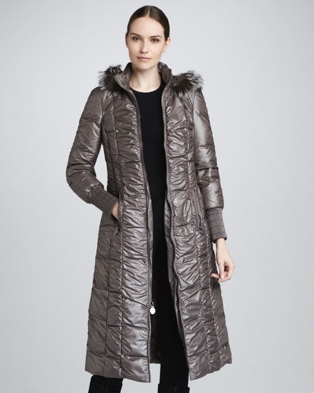 Elisabeth Fur-Trim Long Coat