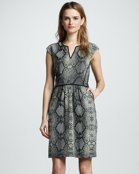 Python-Print Cap-Sleeve Dress