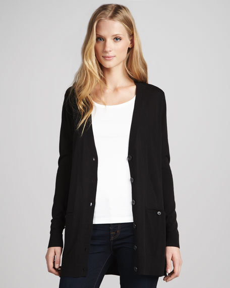 Sheer-Back Boyfriend Cardigan