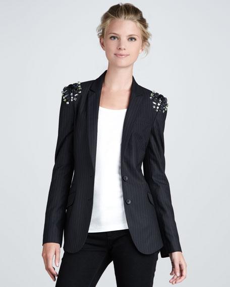 Jewel-Shoulder Pinstripe Blazer