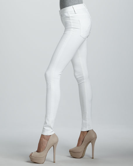 Nico White Mid-Rise Super Skinny Jeans