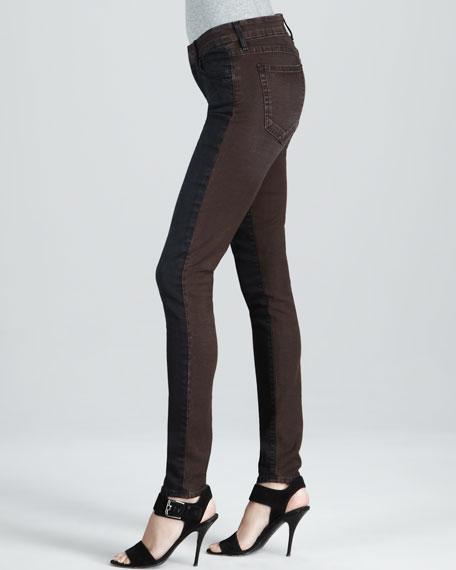 Skinny Brown Tinted Colorblock Jeans