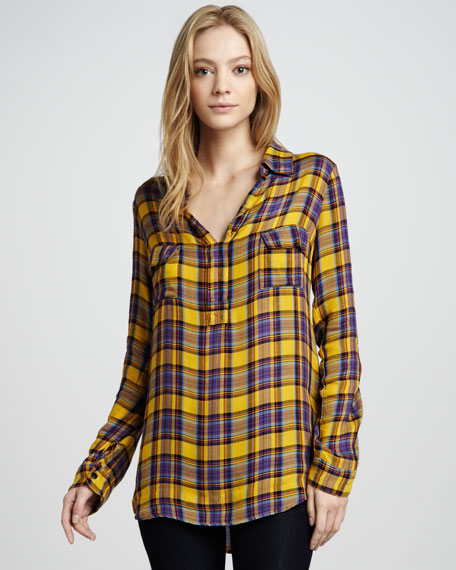 Charlee Plaid Blouse, Golden