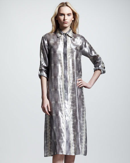 Lizard-Print Shirtdress