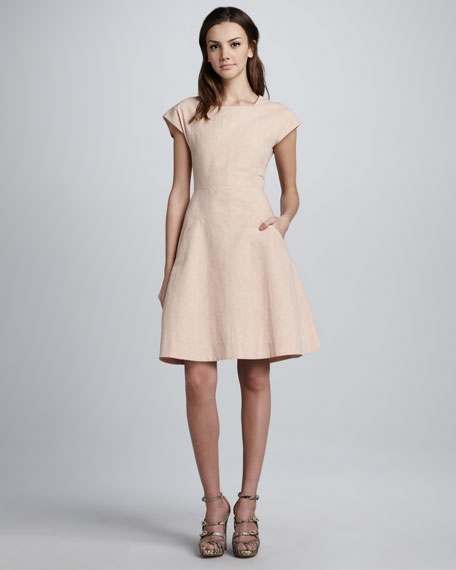 Dabor Square-Neck Linen-Cotton Dress