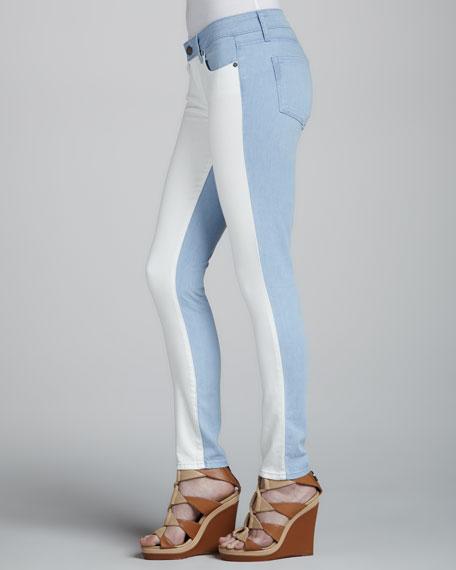 Emily Ultraskinny Colorblock Jeans, Cloud/White