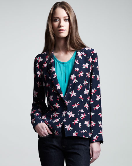 Jordyn Tropical-Print Silk Blazer