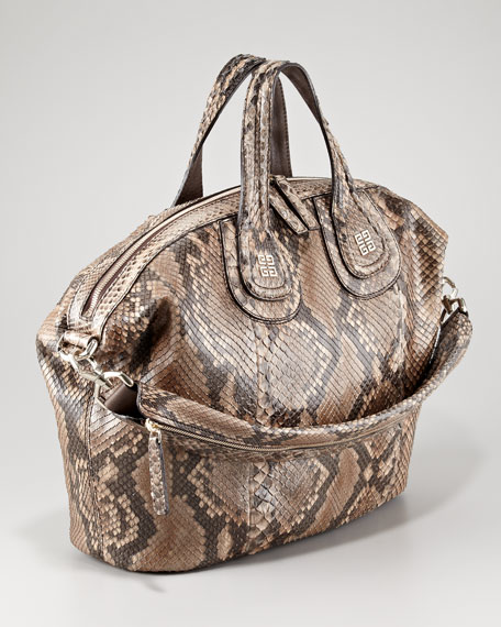 Nightingale Python Satchel Bag, Medium