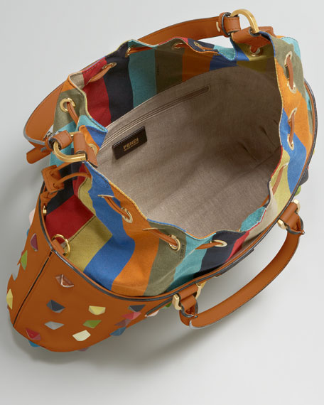 Studded Drawstring-Top Satchel
