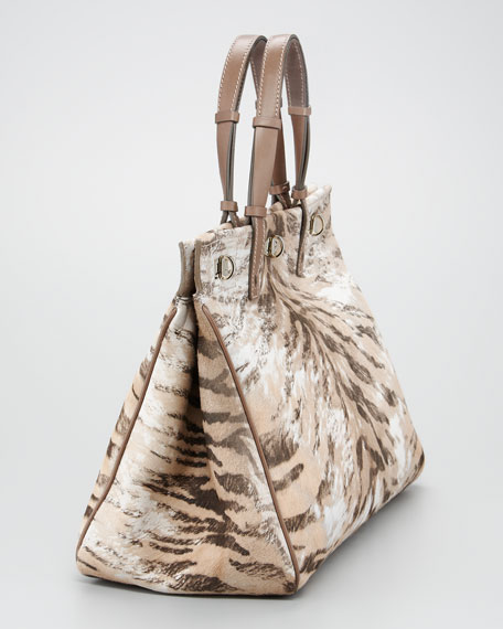 Vault Tiger-Print Calf Hair Handbag