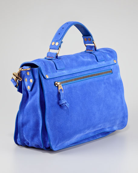 PS1 Suede Medium Satchel Bag, Cobalt