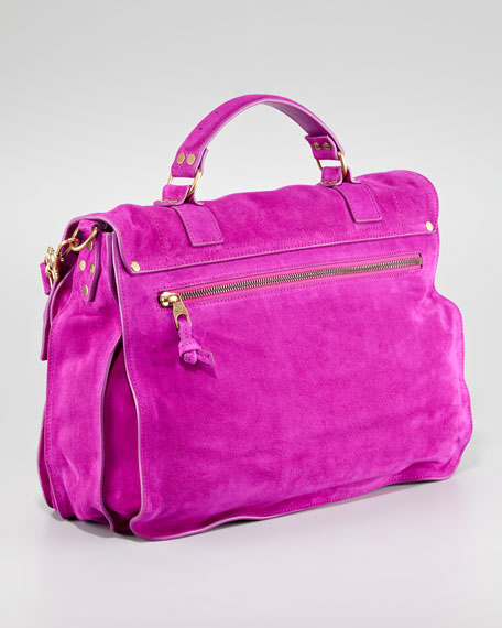 PS1 Large Suede Satchel Bag, Orchid