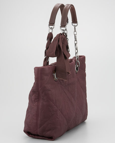 Small Amalia Tote Bag, Aubergine