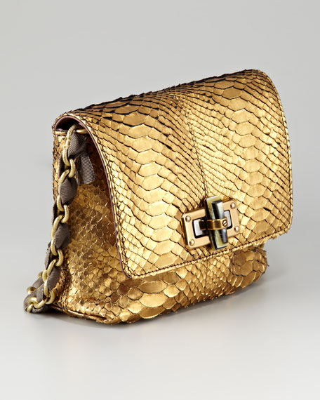 Mini Pop Metallic Python Pouch