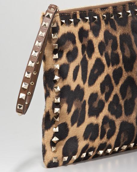 Rockstud Leopard-Print Clutch Bag