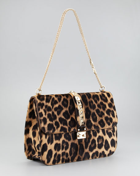 Leopard Calf Hair Lock Bag