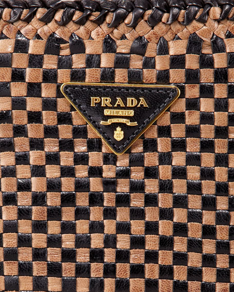 ca92d93bb291 Prada Madras Leather Clutch Bag